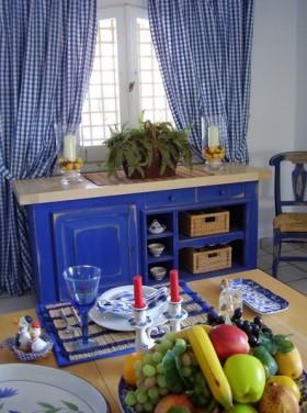 地中海蓝色客厅窗帘效果图