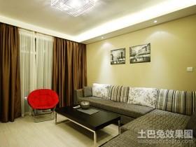 90平家装简约客厅沙发背景墙效果图