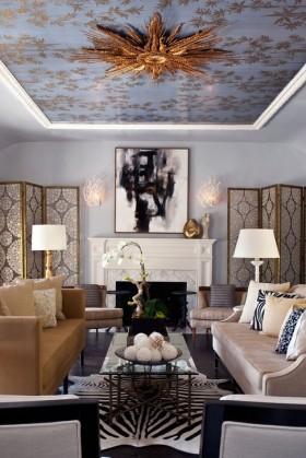 欧式风格客厅吊顶装修效果图 客厅屏风图片