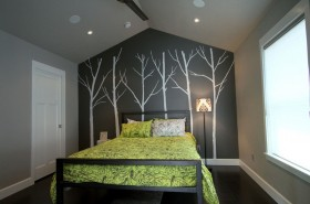 灰色冷色调的卧室背景墙装修效果图
