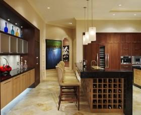 美式风格厨房橱柜吧台吊顶装修效果图