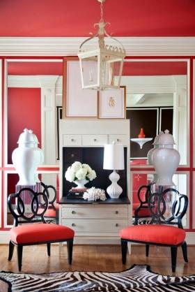 单身公寓红色客厅装修效果图