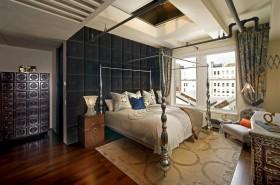 美式白领公寓卧室背景墙装修效果图