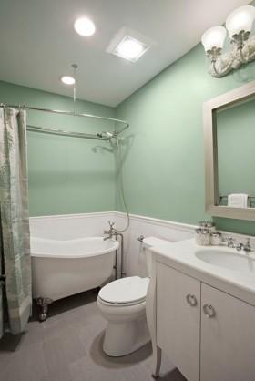 浅绿色卫浴间浴缸装修效果图大全