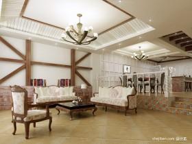 地中海复式楼客厅吊顶装修效果图