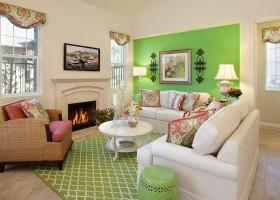欧式田园客厅壁炉电视墙设计效果图