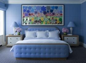 卧室蓝色背景墙装修效果图 卧室装修效果图