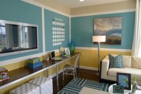 蓝色书房装修效果图大全 书房装饰背景墙