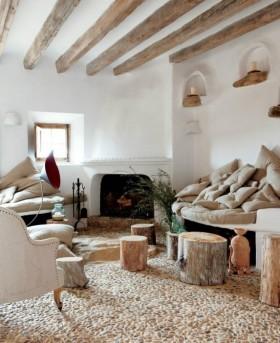 地中海风格客厅壁炉装修 客厅鹅卵石地板装修效果图