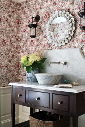 卫生间壁纸装修效果图 简欧卫生间装修