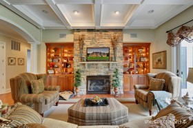 美式田园风格客厅装修效果图 客厅布艺沙发背景墙装修