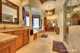 大面积卫生间装修效果图 美式别墅卫生间设计