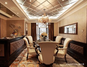 欧式古典风格餐厅装修效果图 餐厅吊顶装修效果图