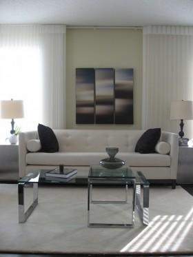灰色素雅的客厅沙发背景墙装修效果图