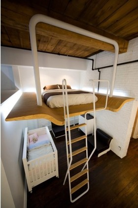 loft公寓咖啡色卧室装修效果图大全