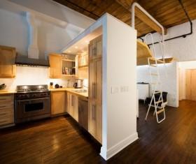 loft公寓咖啡色调厨房装修效果图 简单隔断装修效果图