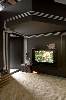 黑色现代风格电视背景墙