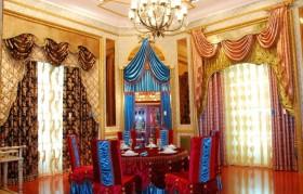 欧式奢华餐厅窗帘效果图