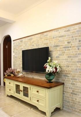 田园风格墙砖电视背景墙装修效果图欣赏
