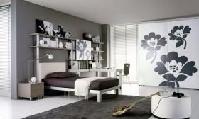 2012现代卧室衣柜装修效果图 灰色调卧室装修效果图