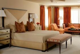 卧室装修效果图 美式现代卧室窗帘效果图