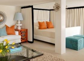 最新卧室装修效果图 简欧卧室窗帘效果图