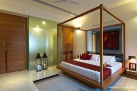 东南亚风格别墅卧室榻榻米床效果图