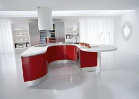 厨房红色橱柜效果图片