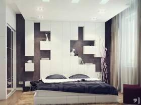现代简约主卧装修效果图大全 简约卧室床头收纳设计图片