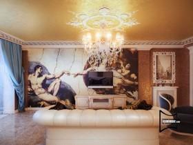 欧式手绘电视背景墙装修效果图