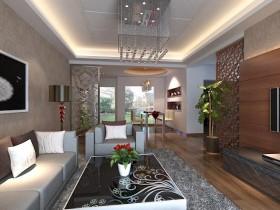 中式客厅石膏吊顶装修效果图