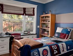 蓝色男孩儿童房卧室飘窗装修效果图