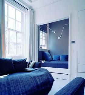 卧室飘窗装修  蓝色卧室飘窗装修效果图
