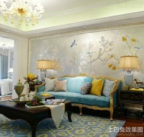混搭欧式沙发背景墙效果图