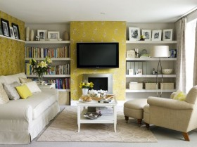 小户型电视背景墙装修效果图 简欧客厅装修效果图