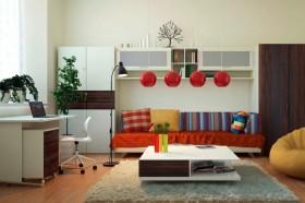 小户型简约客厅储物柜图片