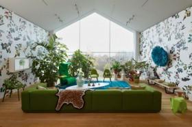 现代田园绿色客厅装修效果图 客厅壁纸装修效果图