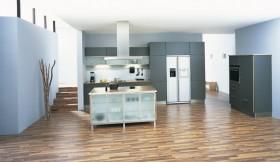 开放式厨房装修效果图 不锈钢橱柜