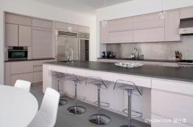开放式厨房装修效果图 灰白简约厨房效果图