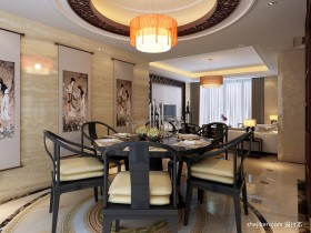 中式风格餐厅吊顶设计效果图
