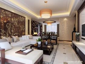 中式风格客厅雕花隔断效果图