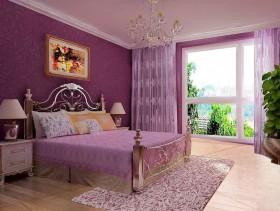 卧室窗帘效果图 紫色卧室装修效果图大全图片