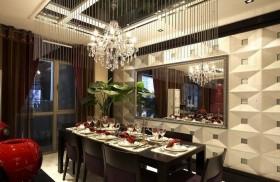 现代餐厅水晶灯吊顶装饰效果图