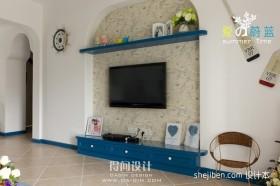 地中海风格微晶石电视背景墙装修效果图