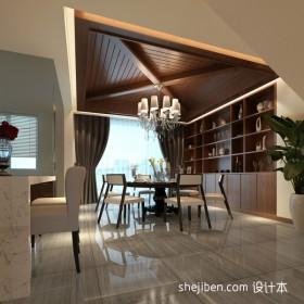 餐厅装修效果图 三居室餐厅木质吊顶效果图