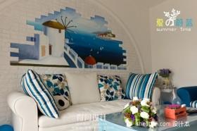 地中海风格沙发背景墙效果图