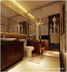 中式卫生间玻璃隔断装修效果图大全2012图片
