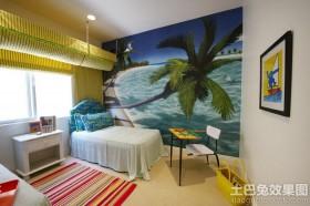 地中海风格儿童房手绘墙效果图