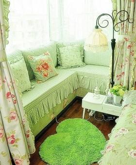 田园风格飘窗窗帘效果图 飘窗窗帘图片