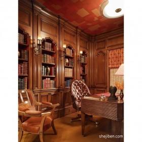 美式家装书房实木家具图片
